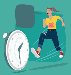 Girl chasing time clock vector