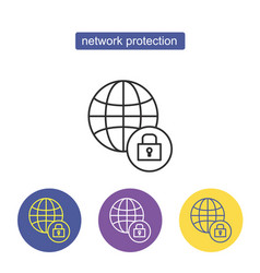 globe with lock linear icon vector image