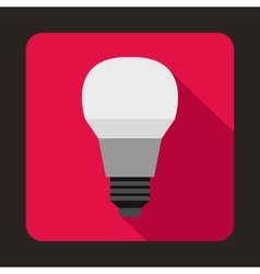 Glowing LED bulb icon flat style vector image