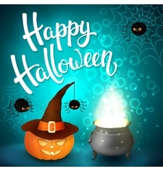 Halloween greeting card with cauldron and pumpkin vector image