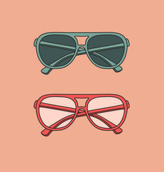 hand-drawn outline isolated pair glasses vector image