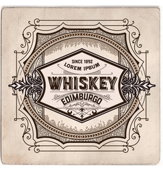 Hand drawn whiskey label vector