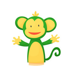 Hand or finger puppets play doll monkey cartoon vector