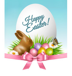 happy easter background colorful eggs and vector image