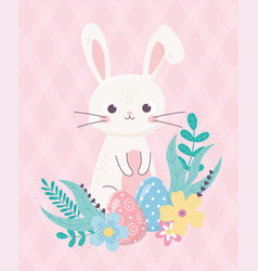 happy easter cute rabbit and egg flowers foliage vector image