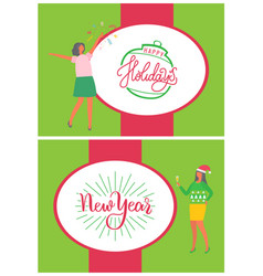 happy new year holidays greeting card with people vector image
