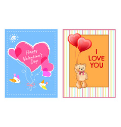 Happy valentines day postcards with heart and bear vector