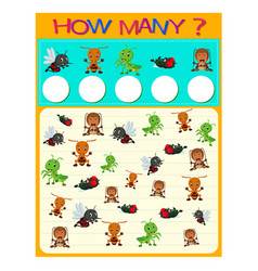 how many worksheet with many insects vector image