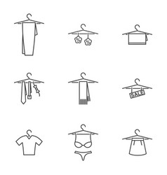 Icon set things on a hanger on white vector