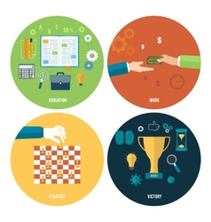 Icons for education work strategy victory vector