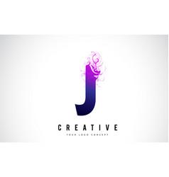 J purple letter logo design with liquid effect vector