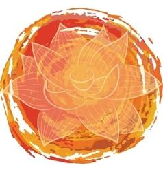 Lotus on orange background vector