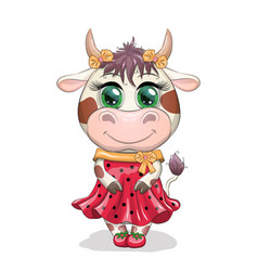 lovely cow girl with beautiful eyes in a red vector image