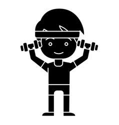 man boy workout with weights hands up icon vector image