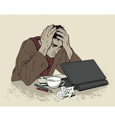 Man in despair sitting at a computer Headache vector
