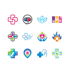 medical and health logo symbol collections vector image