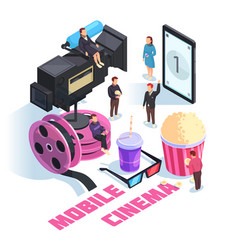 Mobile cinema isometric concept vector