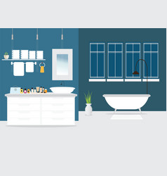 Modern bathroom interior design with furniture vector