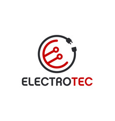 Modern technology logo - electrical circuit vector