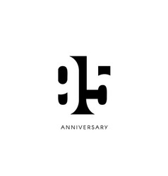 ninety five anniversary minimalistic logo ninety vector image
