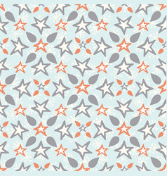 orange and blue icy winter stars snowflakes vector image