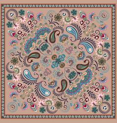 Paisley bandana print square pattern bron vector