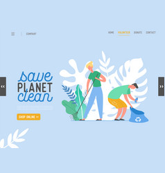people characters removing trash from planet vector image