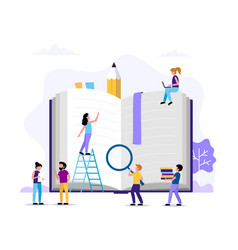 reading small people characters doing various vector image