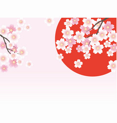 Rising sun and cherry blossoms vector