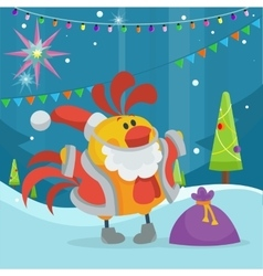 Rooster Bird in Santa s Cloth with Bag of Presents vector