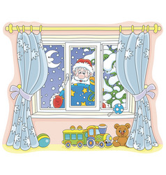 Santa with gifts peeping into a nursery vector