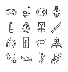 Scuba diving line icon set vector