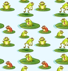 Seamless design of the frogs at the pond vector image