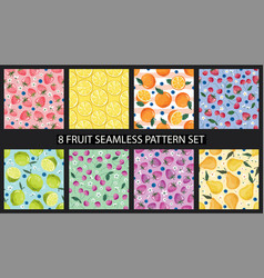 seamless pattern set with fruits and blossom vector image