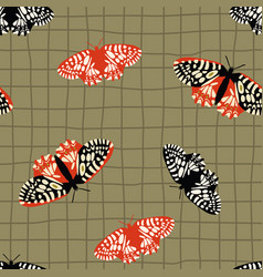 seamless pattern with bright retro butterflies vector image