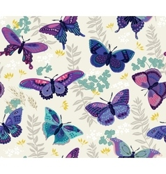 Seamless pattern with butterfly and flowers vector image