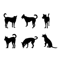 set dog silhouette on white vector image