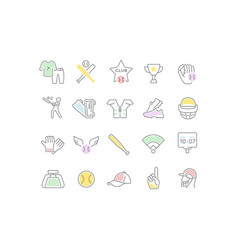 set line icons baseball vector image