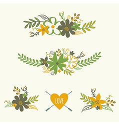 Set of cute retro floral bouquets vector
