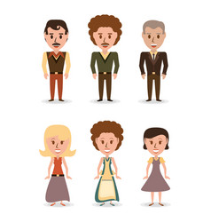 Set retro people with hairstyle concept vector