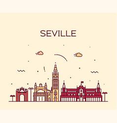 seville skyline spain linear style city vector image