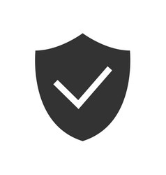shield with checkmark black icon on white vector image