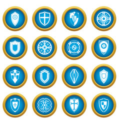 shields set icons blue circle set vector image