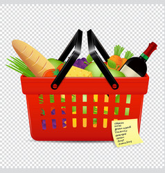 Shopping list and red basket with foods isolated vector