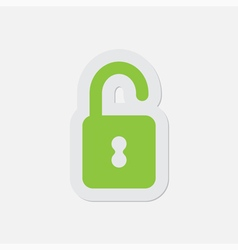 Simple green icon - open padlock vector