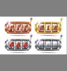 Slot machine set 777 bingo background vector