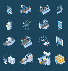 smart industry isometric icons vector image