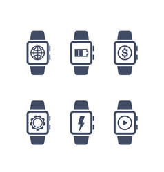 Smart watch icons on white vector