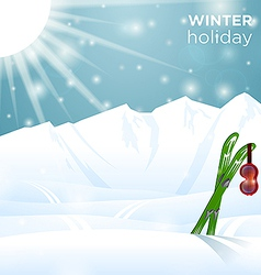 Sunny winter holiday ski goggles on skiing vector image vector image