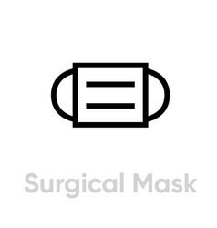 Surgical mask respirator icon editable line vector